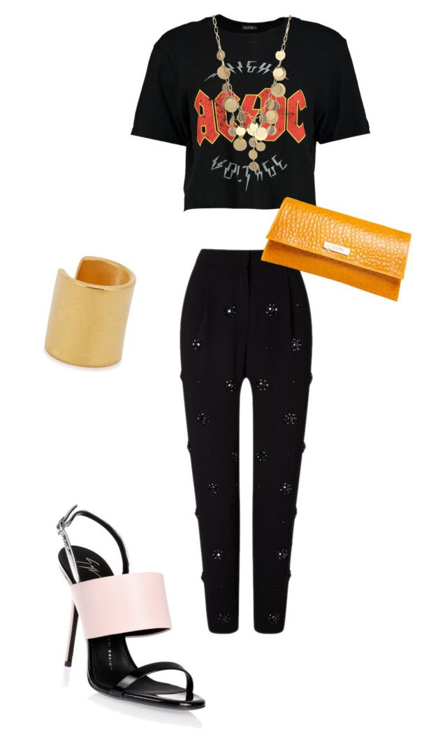 """Flashy Pants"" by caticorn16 ❤ liked on Polyvore featuring Boohoo, Kenneth Cole, Maya Magal and Giuseppe Zanotti"