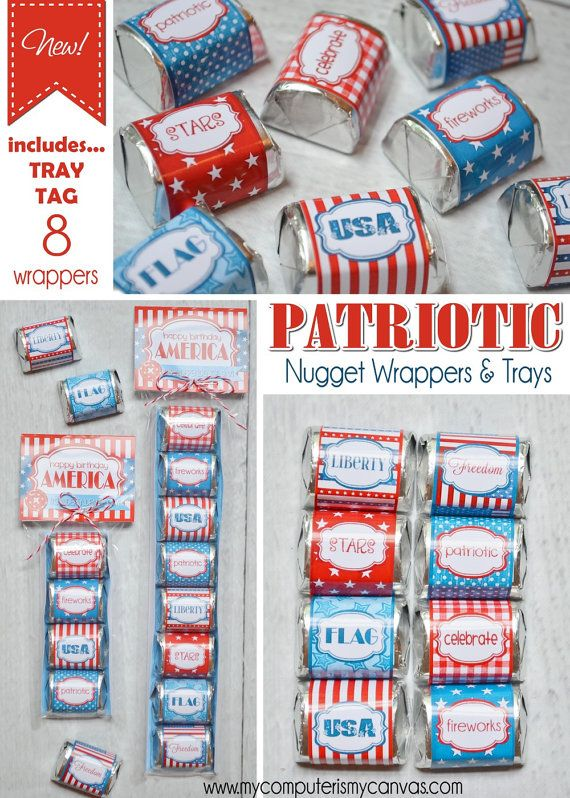 Printable Patriotic Hershey Nugget Wrappers with trays and tags... perfect for 4th of July treat, favor or to scatter around a centerpiece. Great for a candy dish too! #mycomputerismycanvas