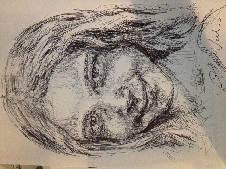 Aurora - black pen drawing by Chiara Nardo
