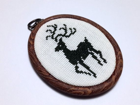 Christmas tree ornament, hand stitched, Deer, cross stitch, hand embroidery