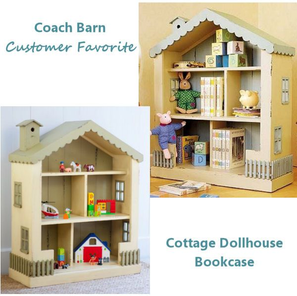 Cottage Dollhouse Bookcase is 41 inches high available @ CoachBarn.com in 33 finishes! #coachbarn #dollhouses #girlsfurniture