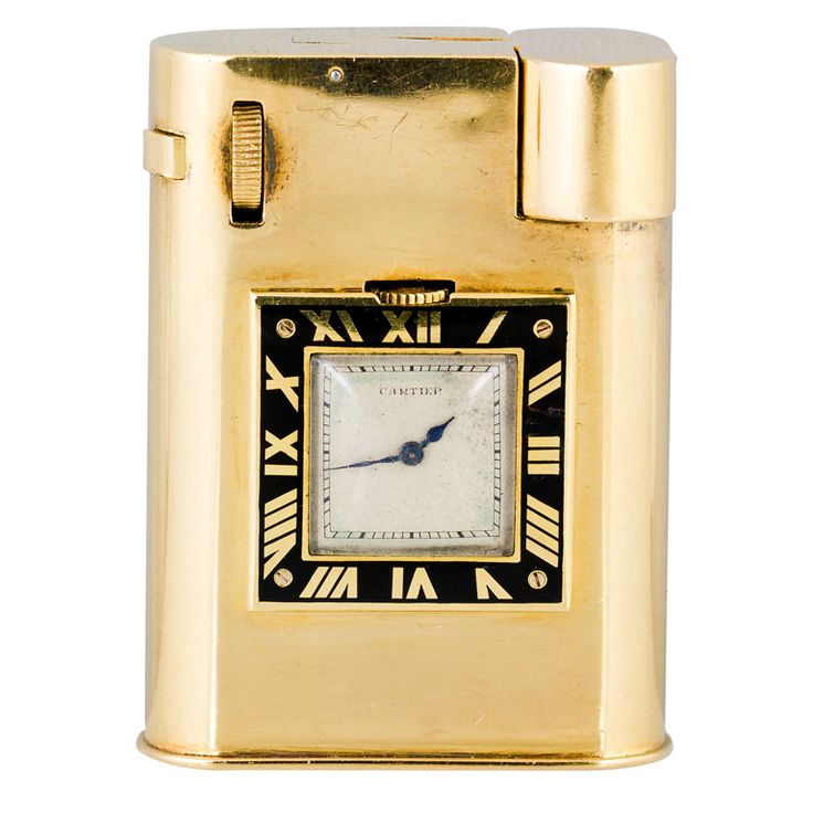 Very rare and fine 18K yellow gold watch lighter by Cartier, with European Watch & Clock (EWC) movement, circa 1930s. It features a manual wind movement.  Hallmarks: Cartier (on dial), maker's mark, French 18K gold assay mark, reference numbers.