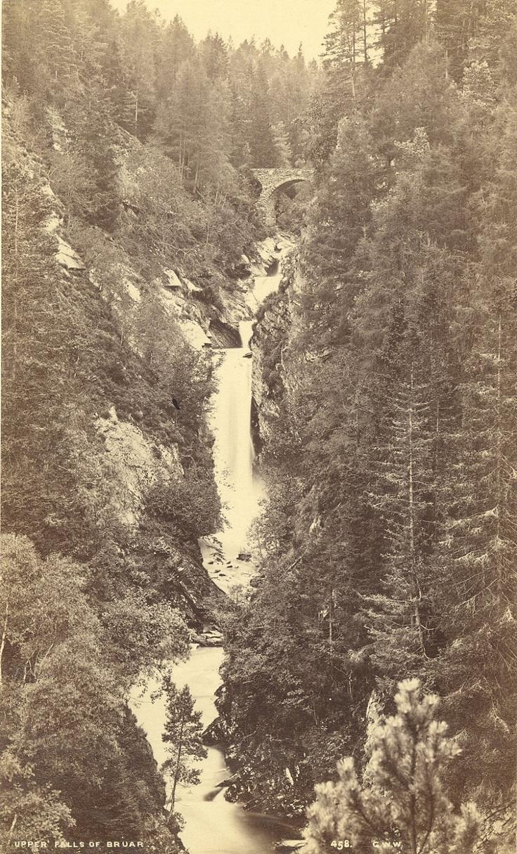 Scottish landscapes. Upper Falls of Bruar, Pitlochey, Scotland, by George Washington Wilson. ca. 1870s.