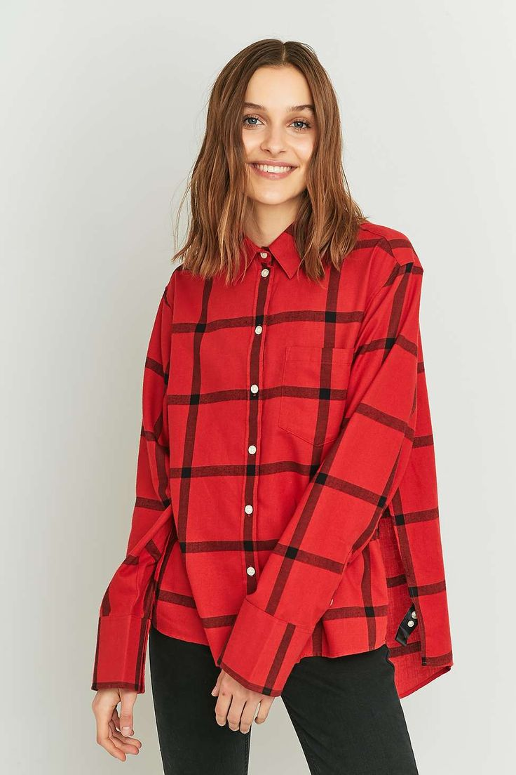 Cheap Monday Tension Oversized Red Checked Button-Down Shirt