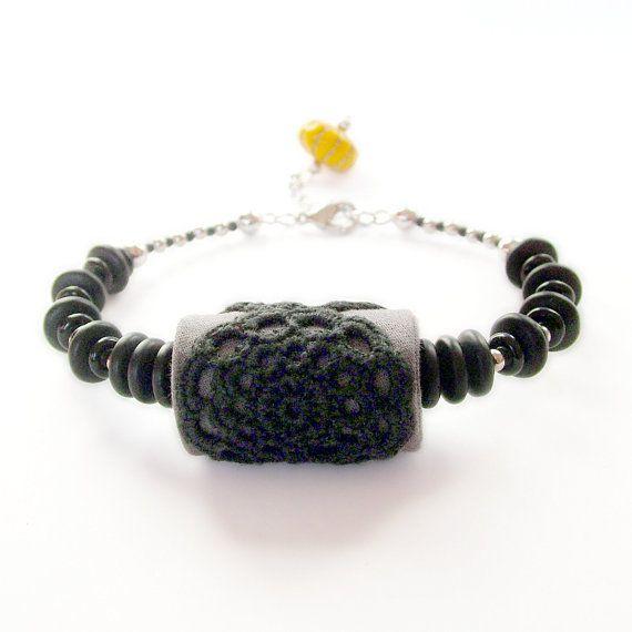 Black lace bracelet with yellow charm / fabric jewelry by rukkola