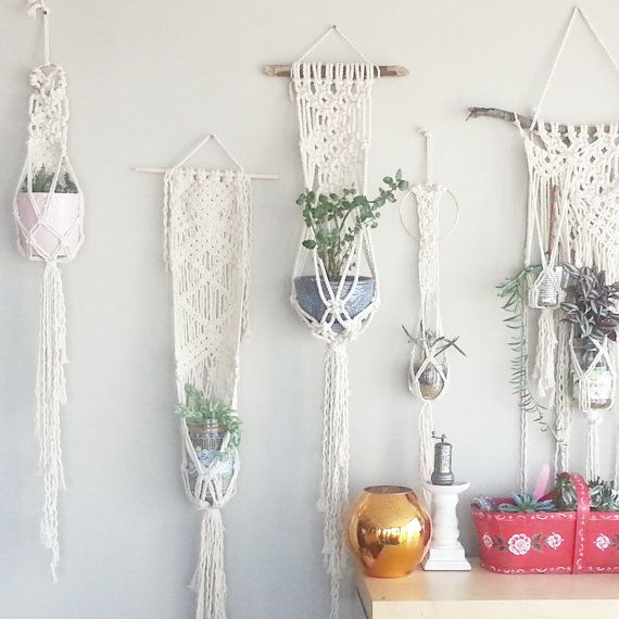 DIY Macrame - HelloUnicornShop  Shabby Chic Hanging Planter- Wall Accent- Bohemian Decor- Dorm Decor~ Planter~ Modern Macrame- White Wall Accent- Boho Home Decor-  BohoChic  https://www.etsy.com/ca/listing/468410895/shabby-chic-hanging-planter-wall-accent