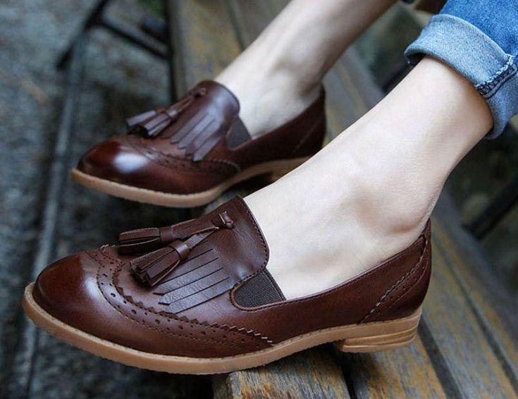 Retro Womens Oxford Brogue Wingtip Tassel Loafer College Low Heel Dress Shoes #