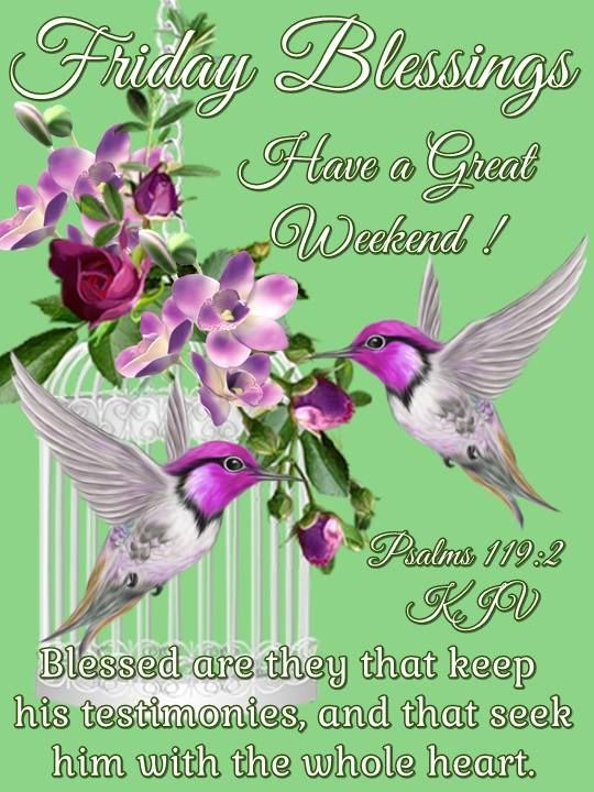 Friday Blessings. Psalms 119:2 KJV- Have a great Weekend!