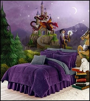 Wizards wall murasl purple bedding harry potter themed for Room decor harry potter