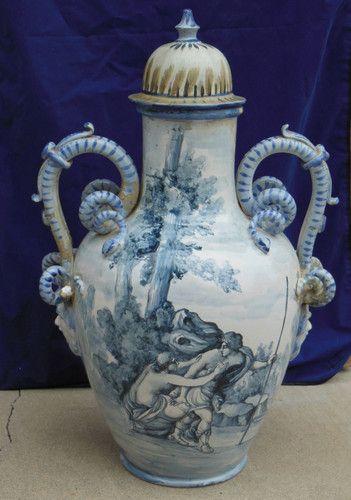 Antique 18 19 C Italian Blue And White Pottery Majolica