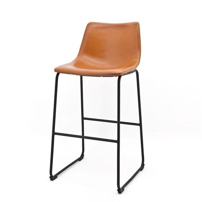 Stoere Barstoel Logan in de kleur licht bruin voor slechts €129,- Hoge industriële barstoel met Vintage Lederlook. ✓ Showroom Gorinchem ✓ Online bestellen.