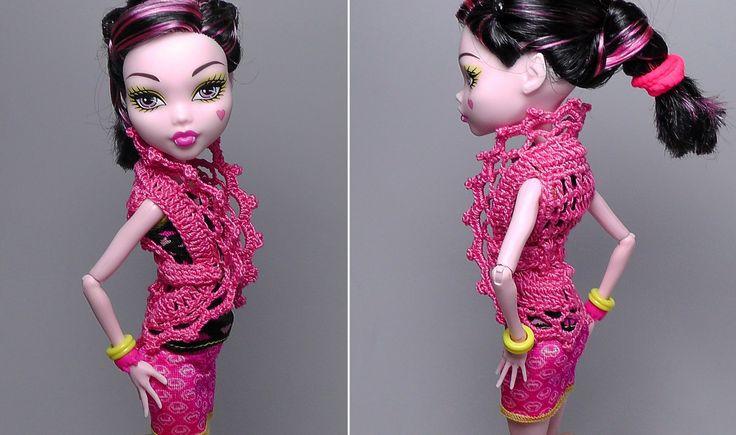 Как вязать модную жилетку для куклы Монстр Хай. Блузка для куклы. Monste...