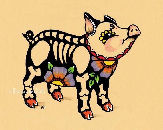 Day of the Dead PIG Piggy Dia de los Muertos Art by illustratedink