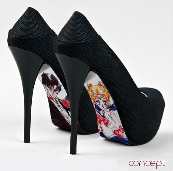 Custom hand painted Sailor Moon Shoes by AshtonAtelier on Etsy. Can't wear heels. Don't care. NEED THESE!