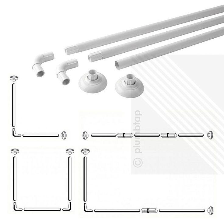 NEW Shower Curtain Rail White - 4 Configurations | L-Shape / U-Shape / Straight