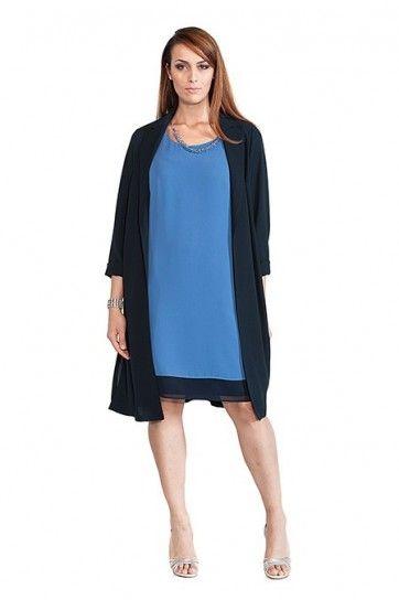 Abito tunica azzurro con giacca chemisier nera Luisa Viola