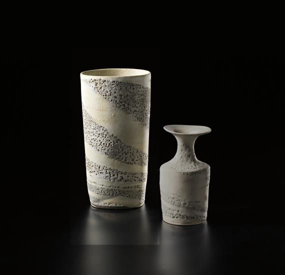 PHILLIPS : UK050314, Lucie Rie, Vase, flattened cylindrical form with integral blue and white spiral