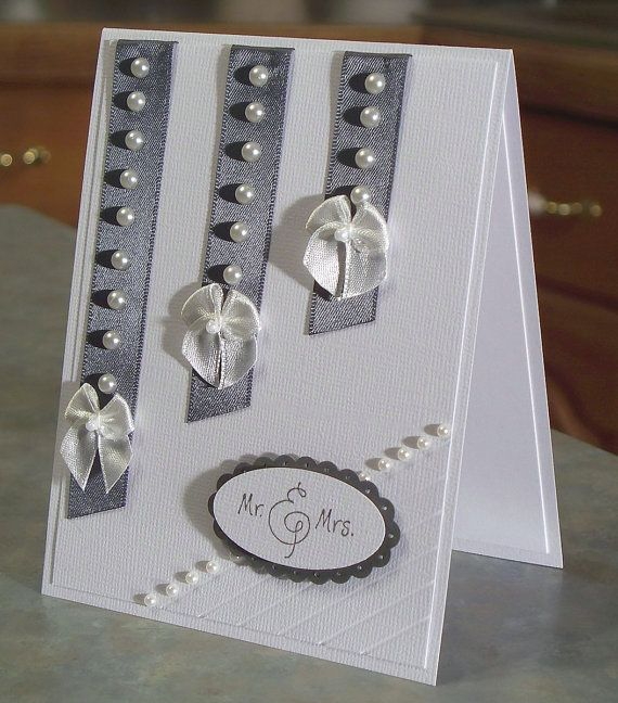 Handmade Wedding Congratulations Card with Mr. & Mrs. Phrase