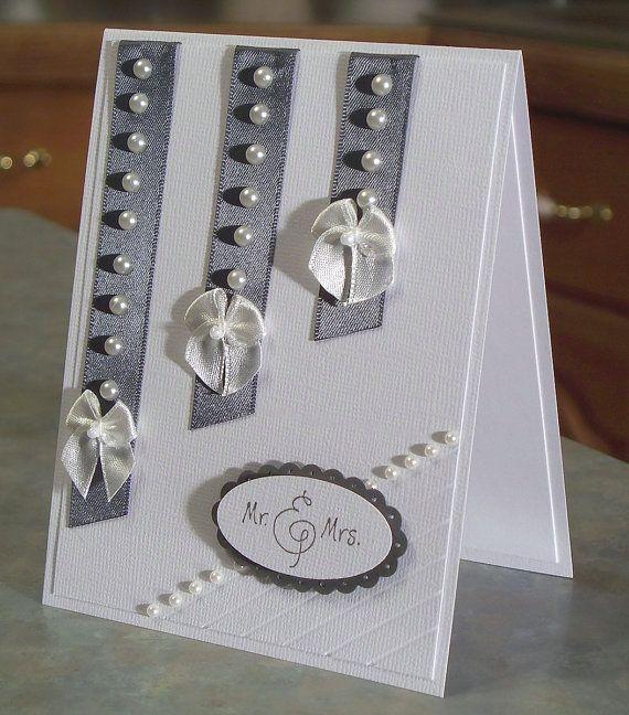Handmade Wedding Congratulations Card with Mr. & Mrs. Phrase