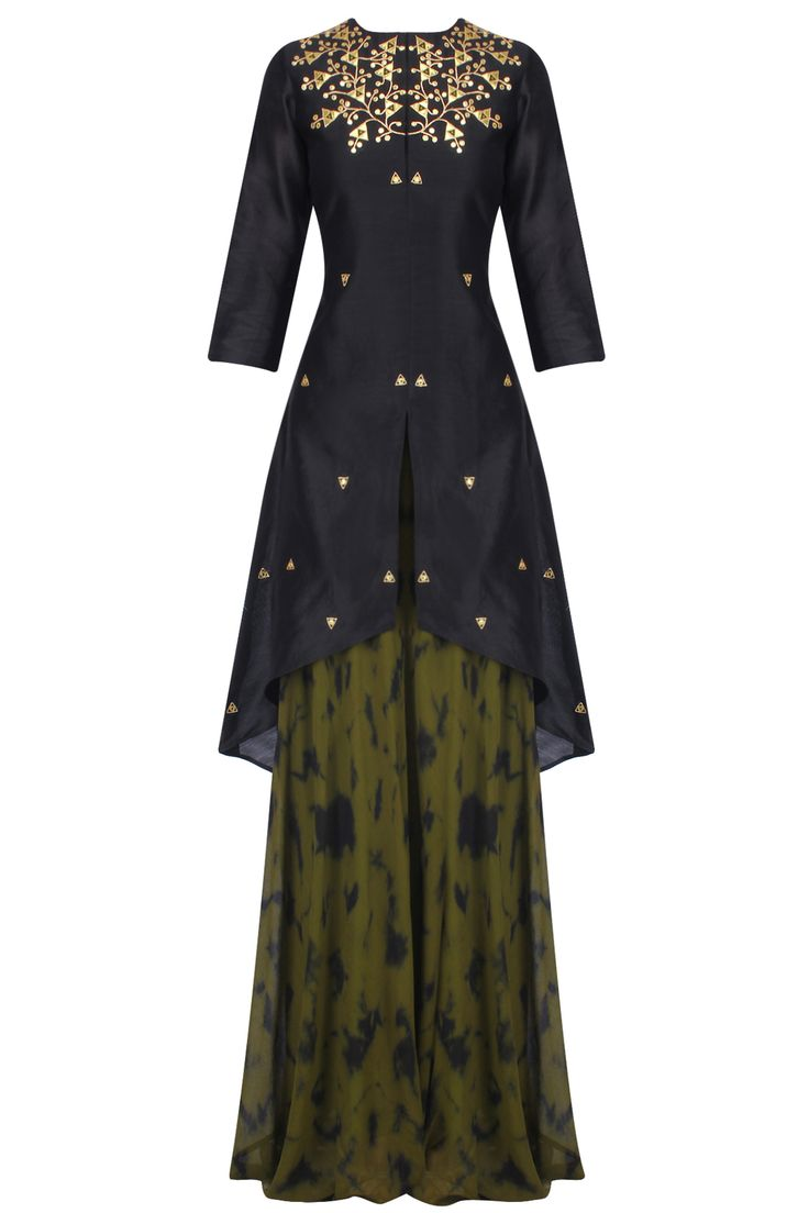 Black gota patti work C cut kurta with skirt available only at Pernia's Pop Up Shop.