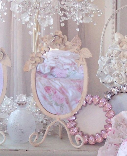 Shabby Chic Home Decor And Vintage Finds Rhinestone Clock Chandelier Beaded Garland Pink Roses Crystal Lamps Vanity Boxes Trays Beach Cottage Frames