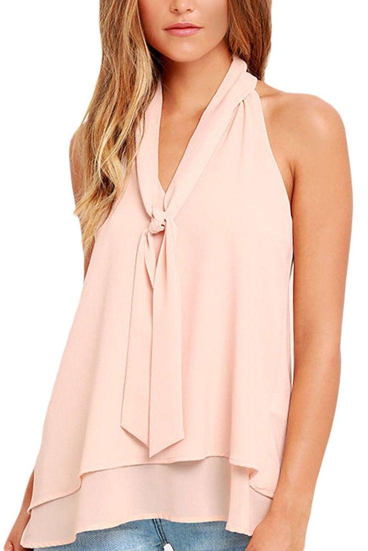 Pink Double Cascading Ruffle Neck Tie Sleeveless Top https://www.modeshe.com #modeshe @modeshe #Pink
