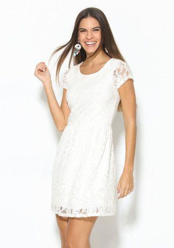 Krajkové šaty s krátkými rukávy #modino_cz #white #whitedress #fashion #style #summer #sun #šaty #bílá
