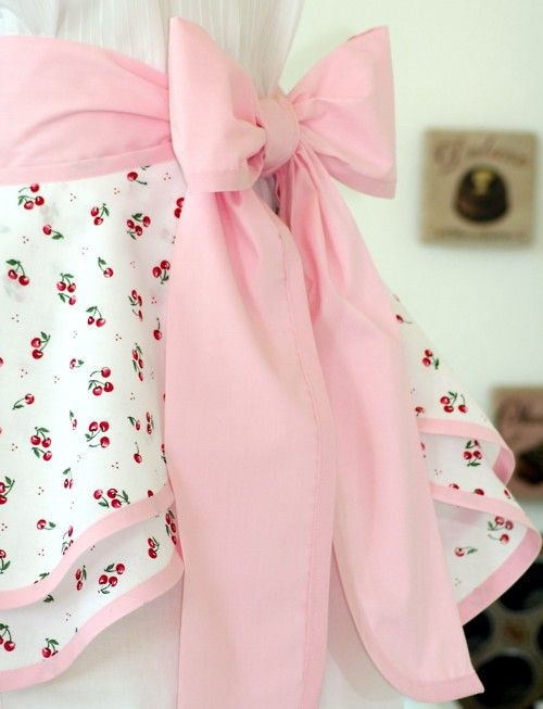 cherry fabric with pink bow apron - love it