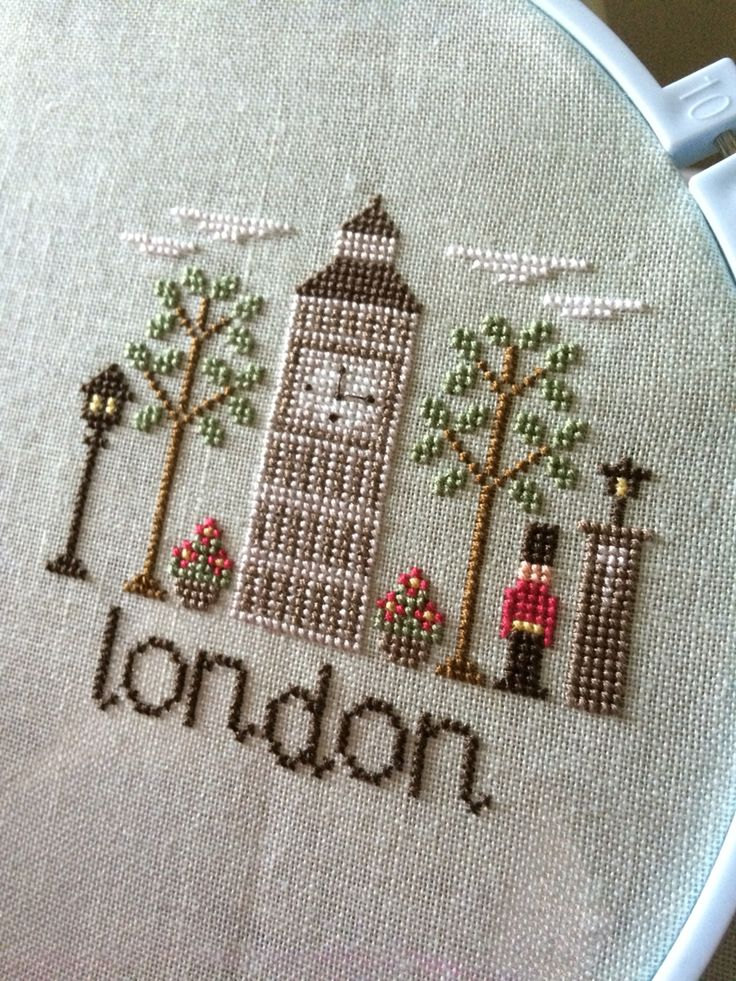 "Work in progress - ""Afternoon in London"" cross stitch pattern by Country Cottage Needleworks 4.9.16"