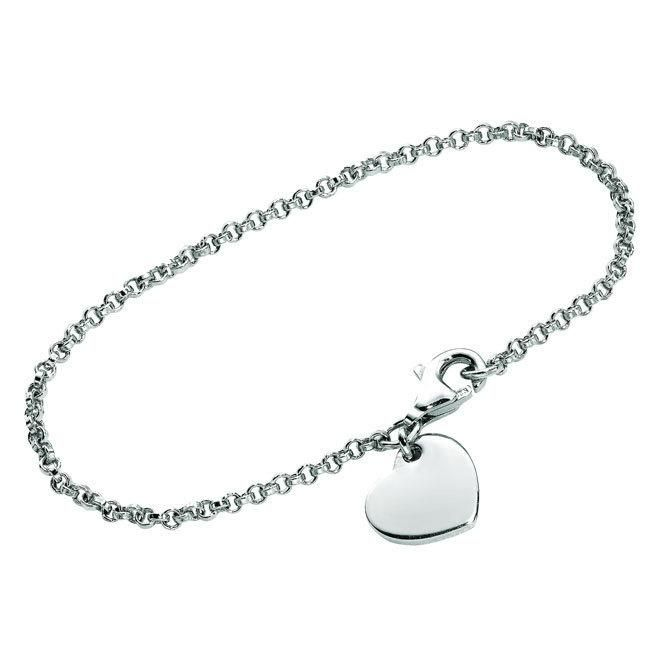 This stunning charm bracelet is beautifully crafted from a highly polished sterling silver. It is availabe in a cutout heart or solid heart charm hung on a 5-inch bracelet that secures with... More Details