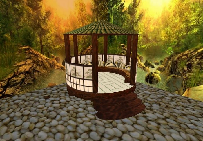 Cool Japanese Gazebo Picture with Stones Accompany the Area