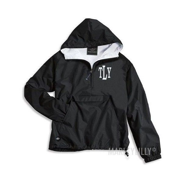 Monogrammed Pullover Rain Jacket ($48) ❤ liked on Polyvore featuring outerwear, jackets, monogrammed rain jacket pullover, pullover jacket, monogrammed rain jacket, rain jacket and pullover rain jacket