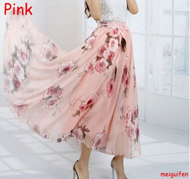 STKKOO Bestseller High Quality Flower Print Silk Long Chiffon Skirts Elastic Patterns Peacock Decoration Bohemia Skirt Maxi Long
