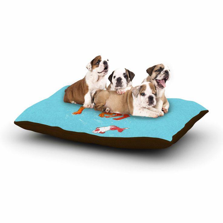 "BarmalisiRTB ""Koi Cat"" Aqua Orange Dog Bed from KESS InHouse"
