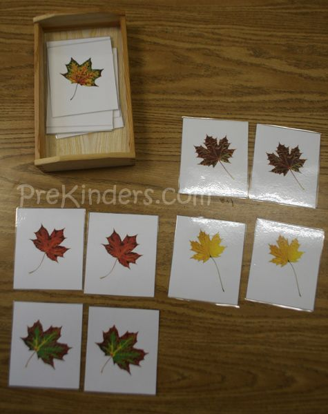 Print out two copies of the leaf matching cards, cut them out, and laminate. Children use visual discrimination skills to match the leaves that are the same. Since these are photographs of real leaves and children are using observational skills to notice differences in nature, I added these cards to our science center.