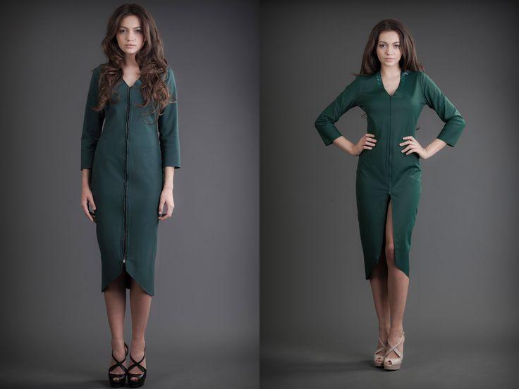2 in 1 Dress - Silk & Jersey Green