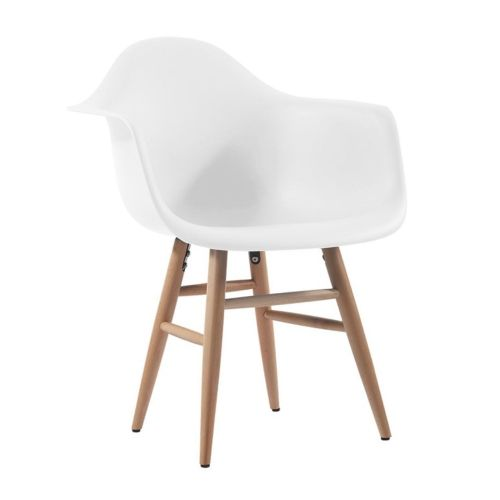 silla tower arms patas de madera blanco