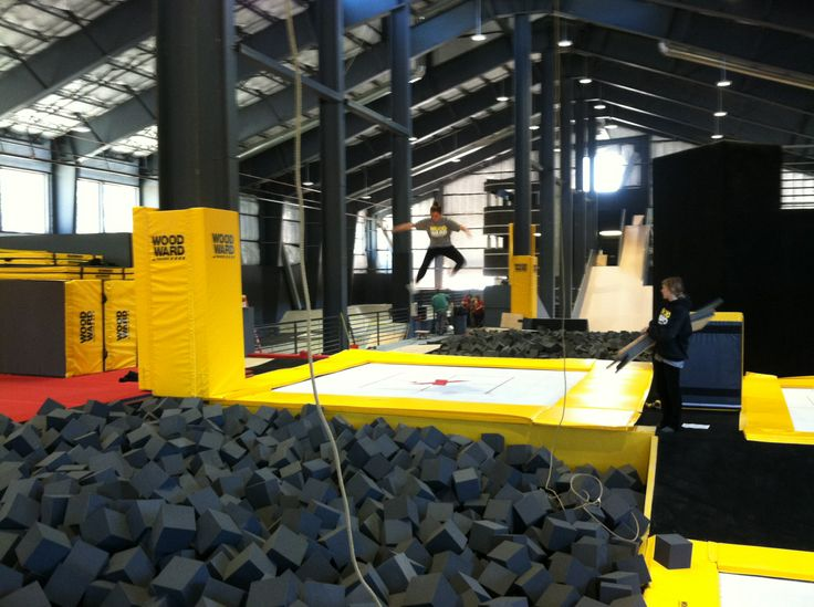 Our Super Quad installation at Woodward--next to a pit for safe learning tricks maxairtrampolines.com