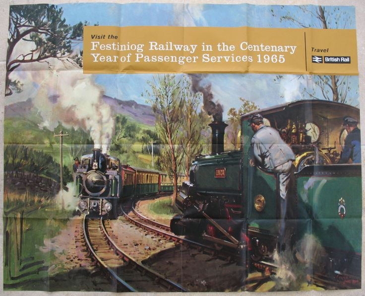 Visit the Festiniog Railway in the Centenary Year of Passenger Services 1965 (The Pass Track). In May 1964, Cuneo visited the Welsh narrow gauge Ffestiniog Railway to make sketches and take photographs for what was to become the painting of trains passing at Tan-y-Bwlch, which was to be re-produced in many forms on posters during the 1960s. Available on originalrailwayposters.co.uk