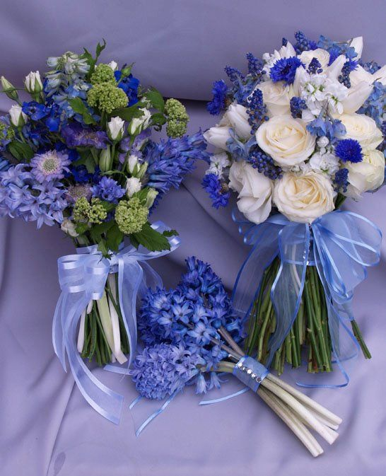 Blue and white wedding bouquets - roses, grape hyacinth, cornflower, stock, delphinium, viburnum, hyacinth, scabiosa,