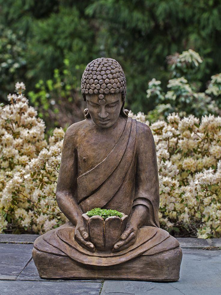 Buddha, Deep In Meditation, Focuses On The Lotus Flower In His Hands. This. Garden  SculptureGarden ...