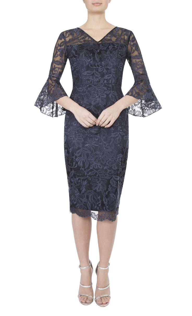 Occasion Wear   Navy Embroidered Lurex Dress