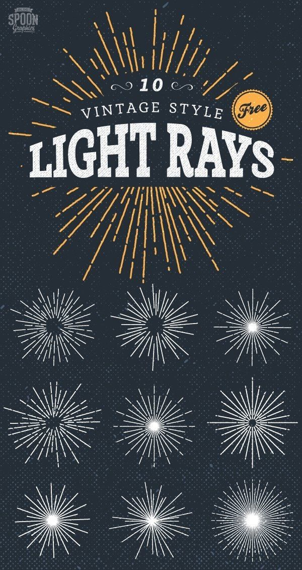 10 Free Vintage Style Illustrated Light Ray Vectors