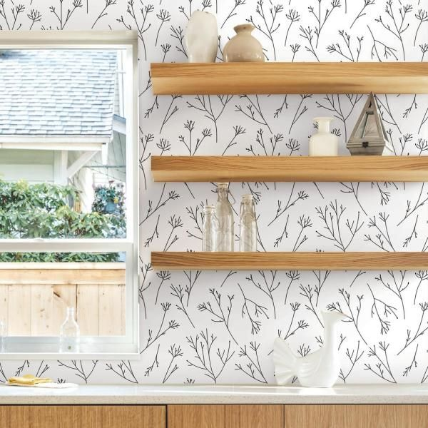 RoomMates 28.29 sq. ft. Twigs Peel and Stick Wallpaper ...