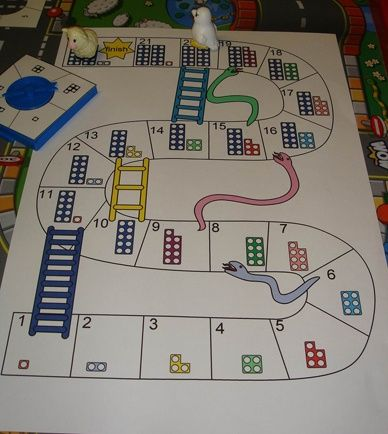 The usual 1-100 snakes and ladders takes too long to play for my three ...