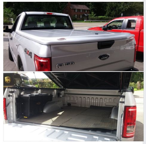 """UnderCover Tonneau Covers LUX Hard Painted Tonneau offers the ultimate in weather-proof secure storage for most any truck on the road today! Team it up with one of their SwingCase Toolboxes and you and your gear are ready for any adventure. Here's one we installed on a new 2016 Ford F-150 yesterday. Perfect fit, color match and amazing looks!"" Top Gun dealer-Truck Outfitters"