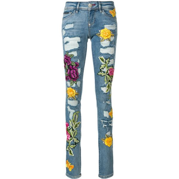 Philipp Plein rose patch distressed skinny jeans ($1,260) ❤ liked on Polyvore featuring jeans, blue, denim skinny jeans, blue skinny jeans, floral print skinny jeans, rose embroidered jeans and patch jeans