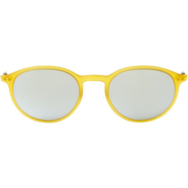 Ray-Ban Light Ray Round Frame ($179) ❤ liked on Polyvore featuring accessories, eyewear, sunglasses, gold, round mirror sunglasses, adjustable glasses, keyhole glasses, ray ban glasses and round mirrored sunglasses