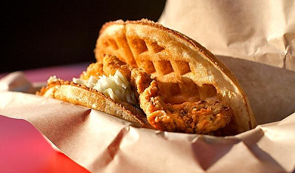 Fried chicken & waffle sandwich at Bruxie (Brea and Old Towne Orange). Delicious!
