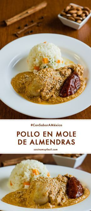 Pollo en mole de almendras, tradicional de la cocina oaxaqueña. Receta mexicana | cocinamuyfacil.com